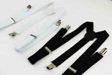 BLACK or WHITE UNISEX MENS WOMENS SUSPENDERS BRACES ADJUSTABLE FORMAL WEDDING