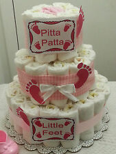 3 Tier Footprints Baby Feet Gingham Diaper Cake Baby Shower Centerpiece Boy Girl
