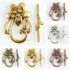Lots 10 Sets Tibetan Antique Silver Flower Shape Toggle Clasps Findings
