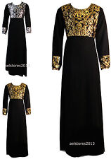 Girls Shiny Foil Print Long Maxi Dress Abaya Islamic Belt 3-13 Years
