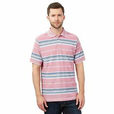 Maine New England Mens Big And Tall Red Striped Textured Polo Shirt