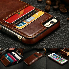 Luxury Ultra Slim Leather Card Slot Back Case Cover For iPhone 6 6S Plus 5 5S