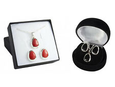 Oval Set Coral Onyx New Sterling Silver 925 Pendant Earrings Chain Gift BOX Set