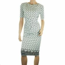 Ex Chainstore Pencil Midi Jersey Dress Wrap Stretch Ruched Black White Party NEW