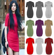 LADIES CELEB  SHORT SLEEVE CURVE HEM HIGH NECK MINI BODY CON PARTY DRESS 8-26