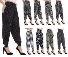 LADIES CAMOU LEOPARD DOG TOOTH SKULL AZTEC PRINT  ALI BABA HAREM TROUSERS