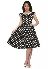 H&R London Betty Black White Polka Dot Pin Up Swing Dress Retro Vintage Pinup