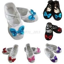 Kids Girls Ballet Dancing Butterfly Pointe Gymnastics Princess Slippers Shoes