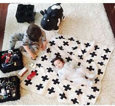 2016 Cute Baby Blanket Black White Bedding Blanket  Baby Rabbit Cross Blanket