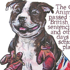 Personalize Staffordshire Bull Terrier History drawing whimsical art print