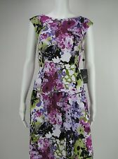 ADRIANNA PAPELL Floral Print Drop Waist Fit & Flare Purple Dress 8 NEW WITH TAGS