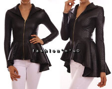 BLACK PEPLUM FASHION JACKET TOP QUILTED FAUX LEATHER LOOK ZIP-UP HI LO RUFFLE
