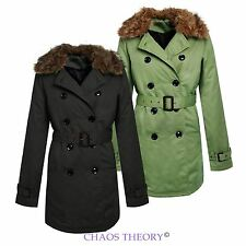 LADIES DOUBLE BREASTED COAT TRENCH JACKET FUR PADDED COLLAR BELTED WOMENS MAC