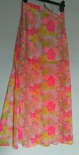 bnwt LIPSY London MAXI SKIRT LINED TO THIGH STRAIGHT FIT PEACH PINK LEMON FLORAL