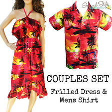 Couple Matching | Frilled Dress & Hawaiian Shirt Red Sunset