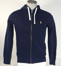 Polo Ralph Lauren Blue Zip Front Hooded Jacket Hoodie Yellow Pony Mens NWT