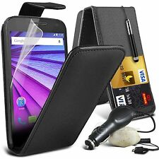 Top Flip Quality PU Leather Phone Case Skin Cover+In Car Charger for Motorola