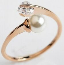 Free Size 18K Rose Gold GP Austrian Crystal Pearl Heart diamond Ring R135a