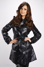 BNWT SIZE S UK 8 BLACK PVC FAUX LEATHER LOOK 60'S STYLE QUILTED JACKET COAT MAC
