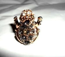 PRINCESS & FROG WITH CROWN RING WHITE GREEN GRAY AUSTRIAN CRYSTAL GOLDTONE 7 8