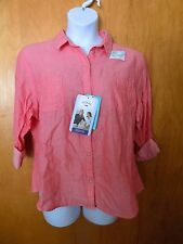 NEW WOMENS XXL RIDERS ORANGE  3/4 SLEEVES  BLOUSE TOP BUTTON FRONT