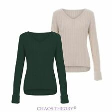 Womens Ladies New Knitted Long Sleeve Knit V Neck Jumper Turn Back Cuff Pullover