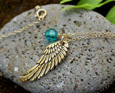 Angel Wing & Birthstone Necklace- 22k gold plated charm, 14k gold fill chain