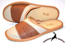 Men's Real Genuine Leather Slippers Shoes Sandals Handmade Scuff Flip Flop New