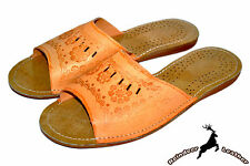 Women Ladies Real Leather Handmade Tan Slippers Sandals Shoes Boots Open Toe New