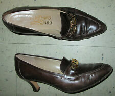 Vintage Classic Salvatore Ferragamo Brown Leather Horsebit Heels Pumps 8B 8 **