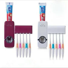 Wall Mount Rack  Automatic Toothpaste Dispenser +5 Toothbrush Holders Stand New