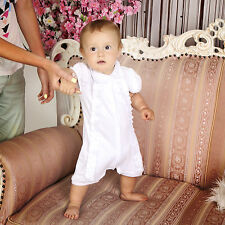 Baby Boy Baptism Outfit White Christening Romper Suit Handmade Unisex Clothes