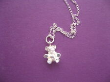 Bear Charm Necklace, Sterling Silver Chain and Pendant, Childrens moms Jewelry