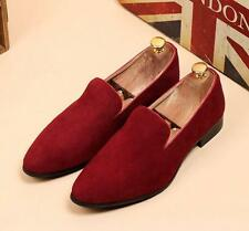Men's Stylish suede Casual Formal Wedding Slip On Pointed Loafer Dress Shoes