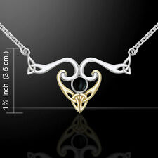 Celtic Knotwork Silver and Gold Necklace with Choice of Gemstone by Peter Stone