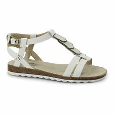 Hush Puppies BRETTA JADE Ladies Womens Open Toe Flat Buckle Summer Sandals White