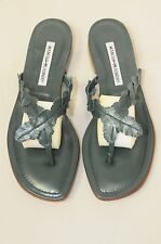 $735 New Manolo Blahnik Pearly Green leather Slides Flats Thong Sandals Shoes 38