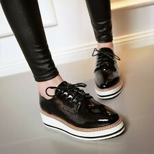 News Womens RETRO Patent Lace Up Square Toe Gladiator Flat Brogue Oxfords Shoes