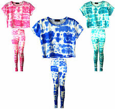 GIRLS NEW TIE DYE LEGGINGS STRETCHY CROP TOP T-SHIRT SIZE AGE 7 9 10 11 13 YEARS