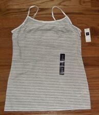 NEW NWT Womens GAP Fitted Cami Camisole With Shelf Bra Support White Striped *2Q