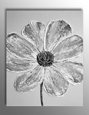 LARGE GREY & WHITE FLOWER IMPASTO PICTURE ZEN PAINTING CANVAS WALL ART PRINT NEW