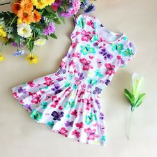 Girls Flower Dress Butterfly Print Sundress Party Casual Kids Clothes SZ 2-6 NWT