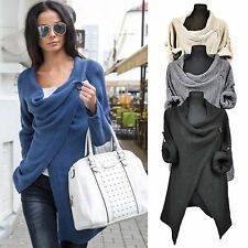 2016 Women's Cowl Neck Roll Up Sleeve Knitted Sweater Top Jumper Loose Outerwear