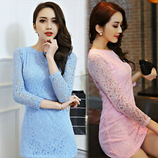 Spring Autumn Fashion Womens Lace Floral Long Sleeve Sweet Bodycon Mini Dress
