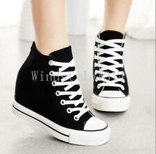 Women's Classic Canvas Strappy Hidden Wedge Platform Sneakers High Top Shoes Sz