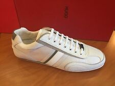 "HUGO HUGO BOSS RED - Men's Trainers With Leather Trim ""Thatoz"" In 125 Open White"