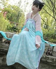 China Fairy Girl 's HANFU Tan Dynasty Blue Chiffon Kimono Fantacy Dress Rare