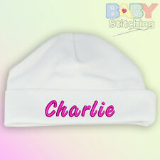 Personalised Embroidered White Baby Hat Girl Or Boy Gift Choice Of Text Colours
