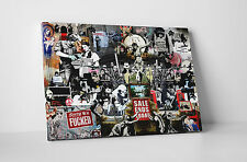 Banksy Collage Gallery Wrapped Canvas Print. BONUS BANKSY WALL DECAL!