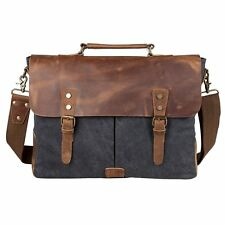 Genuine Leather Laptop Men Women Vintage Canvas Business Messenger Bag Briefcase